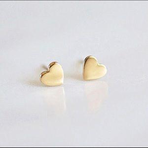 Gold stainless steel stud heart earrings